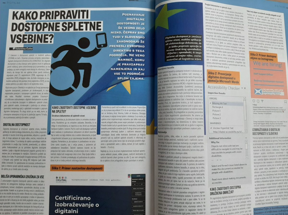 A picture of the article in the magazine.
