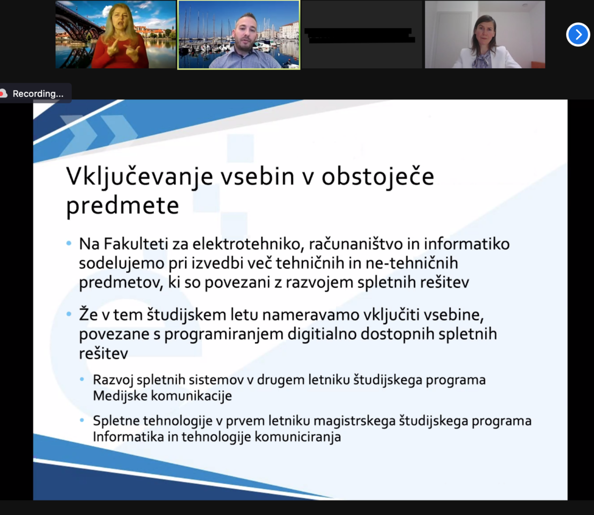 A screenshot of the PowerPoint presentation presented during the conference by a professor from the University of Maribor.
